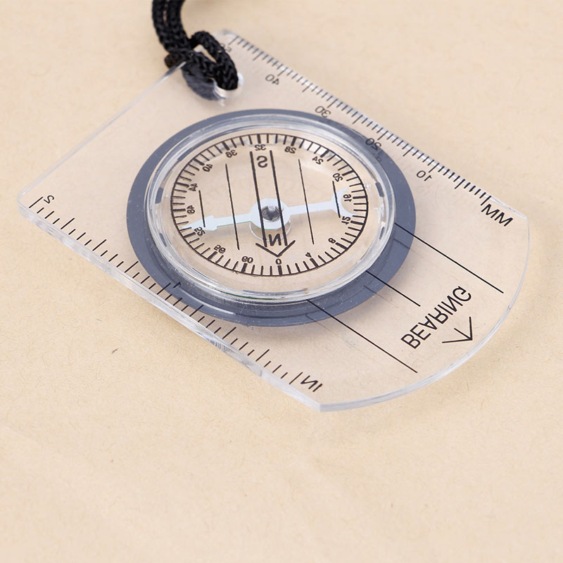 1Pc Baseplate Ruler Map Scale Camping Hiking Walking Survival Compass