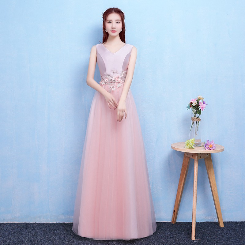 Red Bean Pink Colour New Style Long Dress  Wedding Party Dress For Women Dress For Bridemaide
