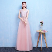 Red Bean Pink Colour New Style Long Dress  Wedding Party for Women Bridemaide