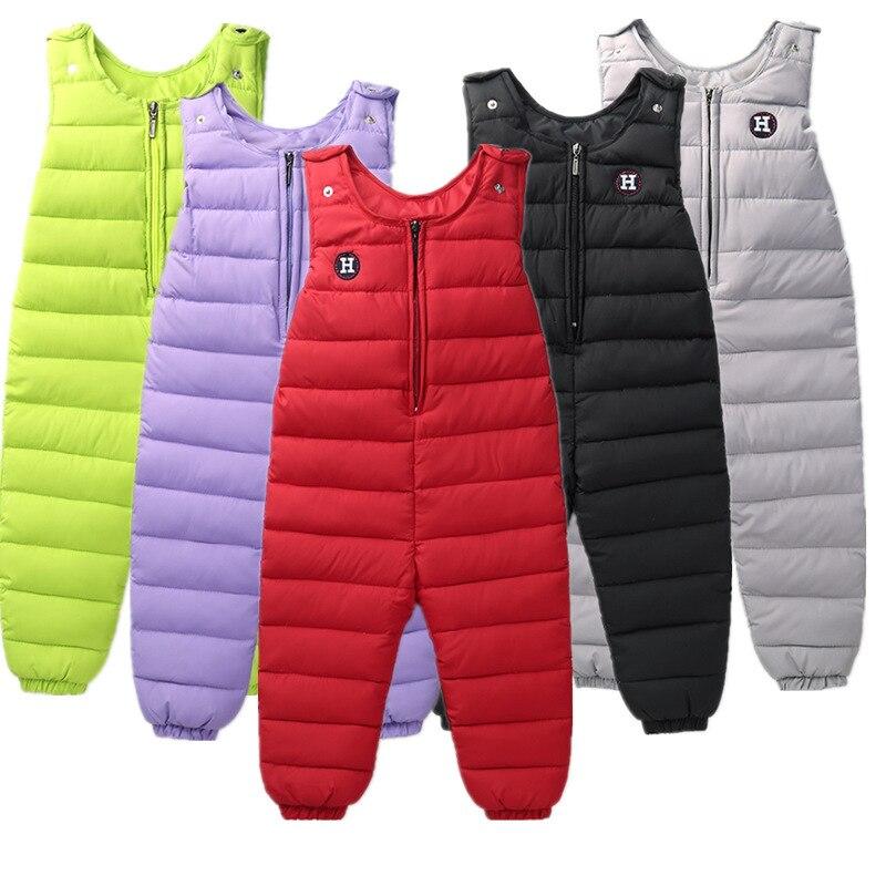 Kids Leggings Winter Pants Toddler Boy Girls Ski Suspenders Trousers 2T 3T 5T Pantalon Garcon Waterproof Windproof Duck Down