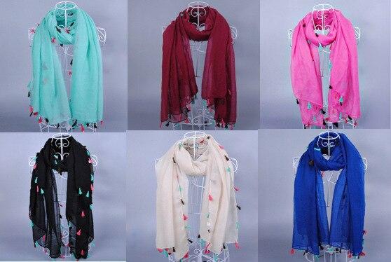 8c26962d2668 Femmes mode couleur unie printe glands plaine 100% viscose châles plaine  écharpe longue hijab musulman foulards   écharpe 10 pcs lote