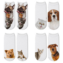 SexeMara New 3D Printed Women Unisex Socks Cute Kawaii Short Socks Cat Dog Pattern Funny Fashion Casual Ankle Cotton Sock