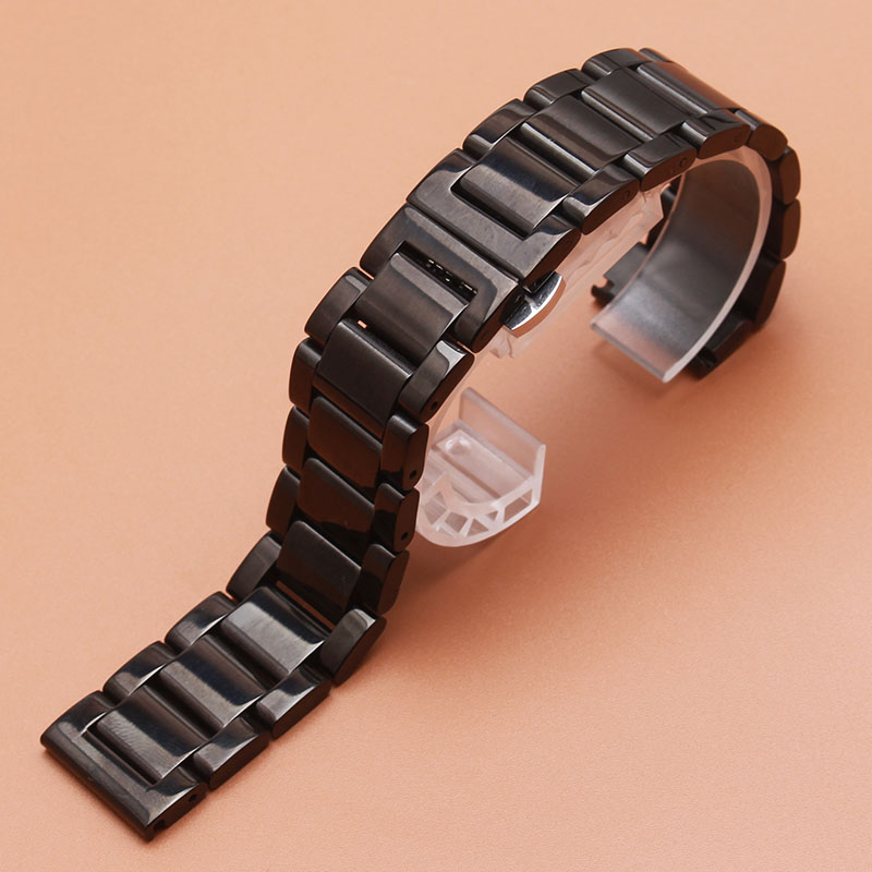 High Quality 22mm Polished Black Stainless steel Watchbands Butterfly Deployment Clasp Watchband for samsung gear S3 Bracelet