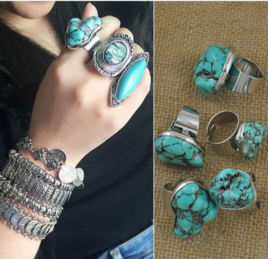 Vintage Alloy Gypsy Natural Turkish Stone Ring Boho Tibetan Silver Amulet Ring Ethnic Jewelry Tribal Statement Nepali Gypsy Ring