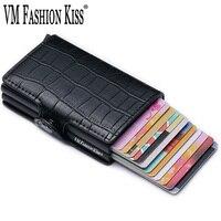 VM FASHION KISS 2019 New Crocodile PU Leather RFID Double Box Mini Wallet Retro Business Metal Travel Wallet Credit Card Holder