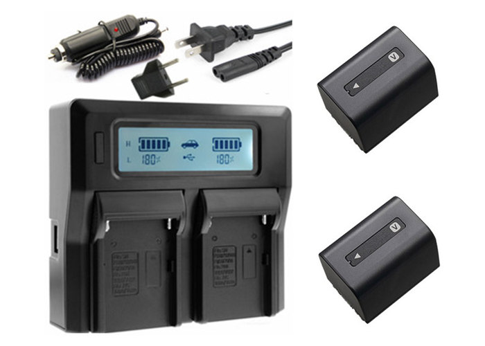 2x NP FV70 NP FV70 FV30 FV50 Battery LCD Dual USB Charger for Sony HDR CX105