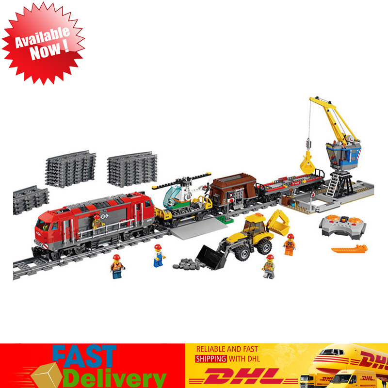 Lepin 02009 1033pcs Heavy-haul Train Powerful Freight Infrared Remote Control Toys Block Bricks Kits Compatible LegoINGlys 60098 lepin 02009 1033pcs city engineering remote control rc train building block compatible 60098 brick toy