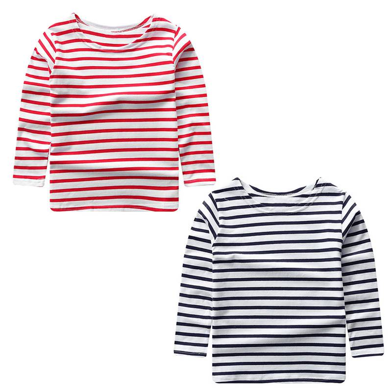 Summer Kids Baby T-shirt Long Sleeve Striped Boy Girl T-shirt Cotton O-Neck Children Clothes Infant Boy Girl Tops Blouse Tee Top contrast striped petal sleeve dip hem shirt