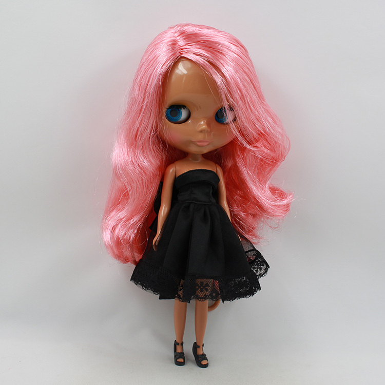 Blyth Doll toy gift 230BL176 pink hair dark skin side parting wavy hair graceful short side bang fluffy natural wavy capless human hair wig for women