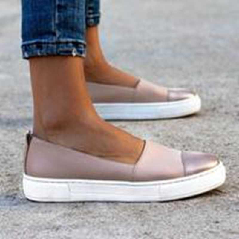 Adisputent 2019 bahar kadın deri makosenler Slip-on bale daireler beyaz siyah ayakkabı kadın loafer'lar üzerinde kayma tekne ayakkabı Moccasins