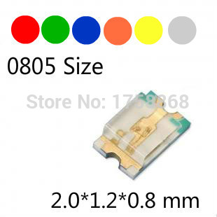 500pcs 0805 SMD LED 2012 LED Red/Green/Blue/White/Yellow/Amber(Orange) LED Diode Light R/G/B/W/Y/A Size 2.0*1.2*0.8mm