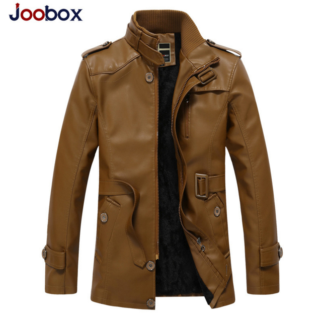 2017 new arrival plus size Men's leather jacket thick long leather suede wool liner pilot leather jacket PU men coat (HT0606)