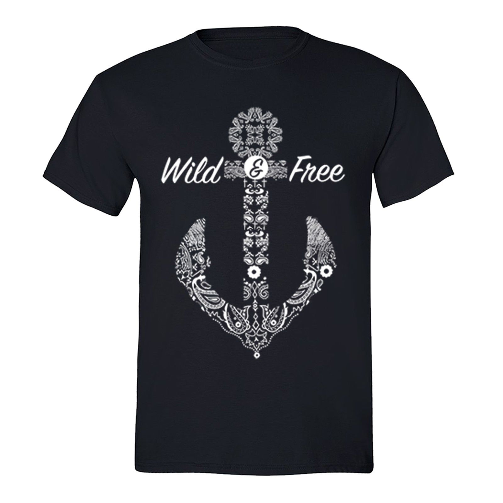 Fashion Men Tshirt Wild Free Tshirt White Anchor Cruise Vacation Sail Summer Beach T-Shirt Black O Neck T-shirt
