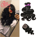 Brazilian Body Wave Hair With Closure 3 Bundles Wonder Beauty Virgin Human Hair With Free Part Middle Part 3 part Lace Closures