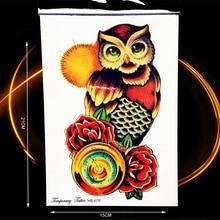 Creative Sun Owl Rose Clock Temporary Tattoo Stickers For Men Women Body Art Decals Waterproof Arm Tattoo Sleeve Stickers HHB676