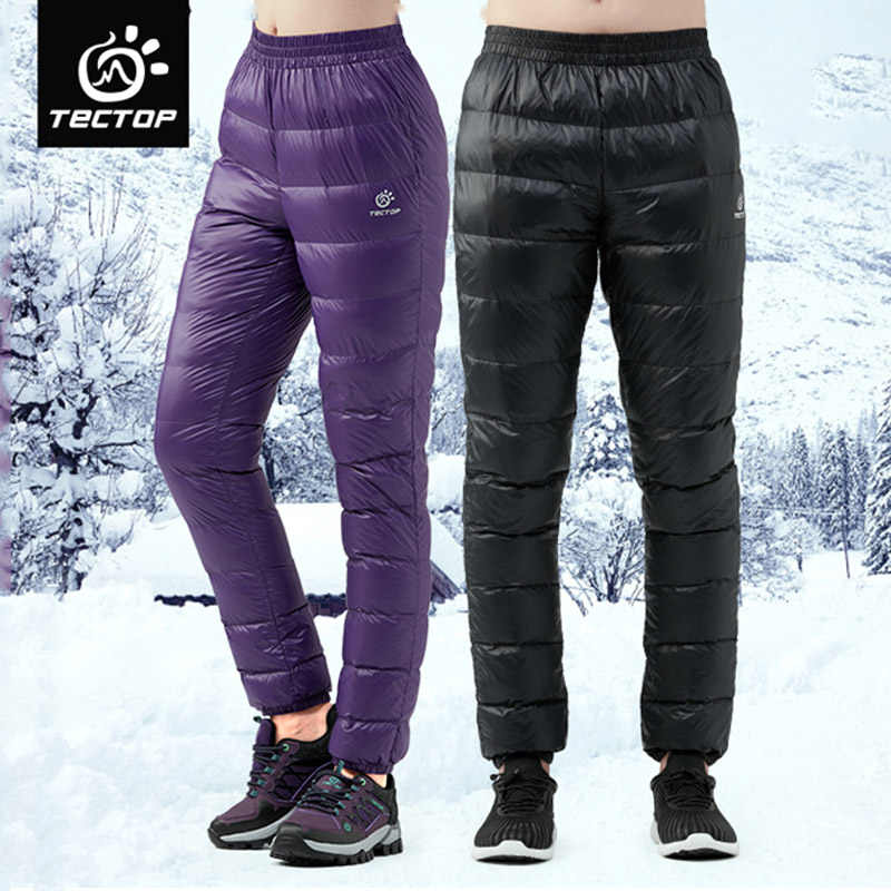 TECTOP ultralight Duck Down Pants Men Winter Down Trousers Women Cold Wether Snow Camping Outdoor Light Warm Soft Thermal Pants