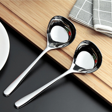 050 Kitchen Tableware Silver Stainless Steel Spoon Dinner Soup Ladle Dessert Ice Cream Table 17*5.5cm