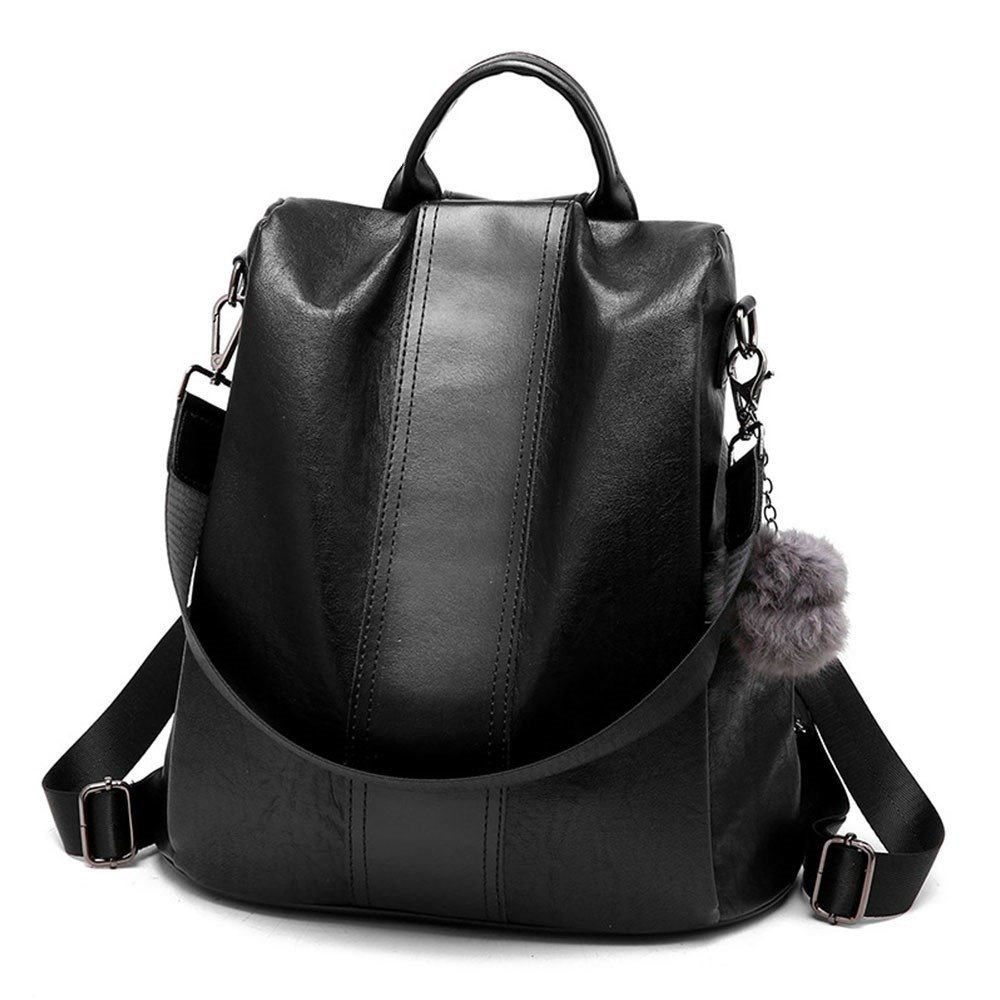 TTOU Fashion Casual Leather Women Anti-theft Backpack Quality Vintage Backpack Female Capacity Travel Shoulder Bag with HairballTTOU Fashion Casual Leather Women Anti-theft Backpack Quality Vintage Backpack Female Capacity Travel Shoulder Bag with Hairball
