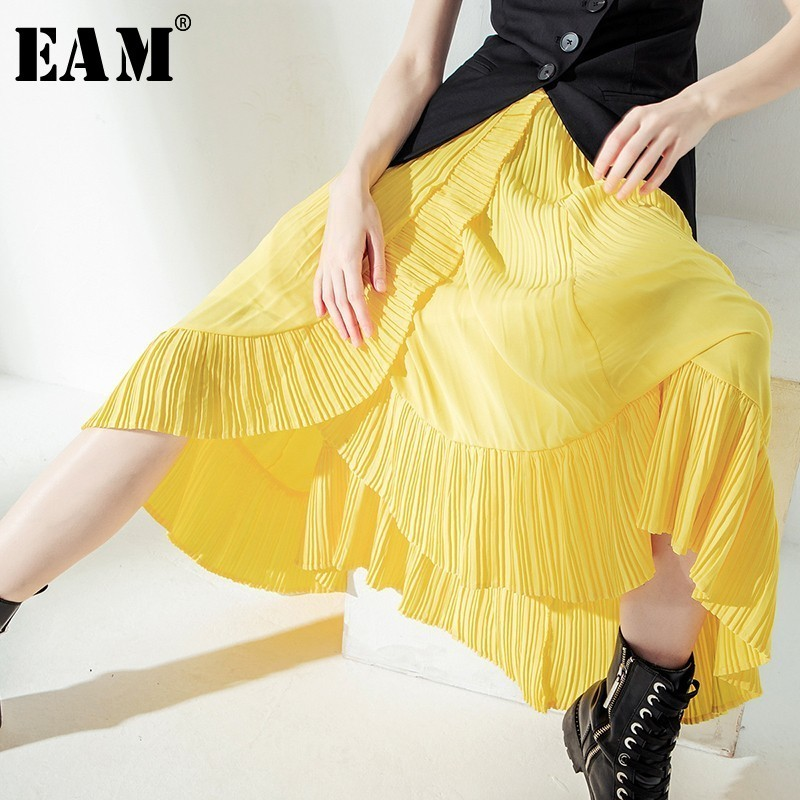 [EAM] 2020 New Spring Summer High Elastic Waist Yellow Pleated Ruffles Irregular Half-body Skirt Women Fashion Tide JT207