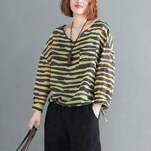 ac4c05ebc152 Spring Autumn Stripe Pocket Long Sleeve Thin Linen T Shirt Women Casual New  V Neck Pullover Tops Shirts