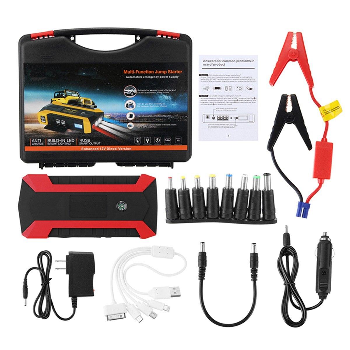 Démarreur de saut 89800 mAh chargeur de voiture multifonction démarreur de saut de batterie 4USB lumière LED Kit de batterie externe Mobile d'urgence automatique 600A