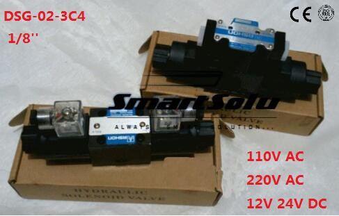 Free shipping DSG-02-3C4 Rc 1/8'' solenoid operated directional valve, 220V aC ,Terminal Box Type or plug-in connector type free shipping dsg 03 3c9 220v ac 1 8 solenoid operated directional control valve terminal box type plug in connector type