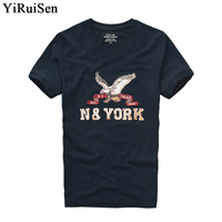 YiRuiSen Brand Clothing Men Short Sleeve T Shirt 100 Cotton O Neck Fashion Letter Patch T