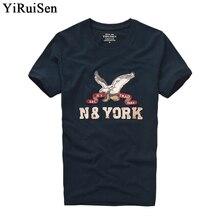Yiruisen брендовая одежда мужские с коротким рукавом Футболка 100% хлопок o-образным вырезом мода письмо патч футболка мужские летние повседневные футболки