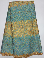 High Quality Low Price Green Orange Embroidered African Water Soluble Garments 5 Yards Per Piece Dp