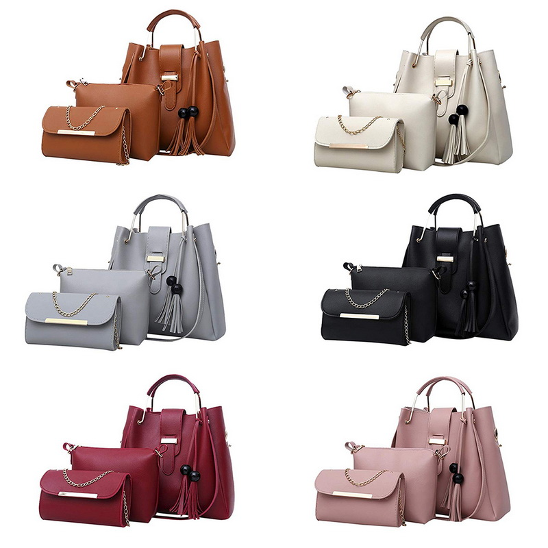 A 2018 red Pc Sac Bag Nappa Delle Secchio Casual Spalla Borsa black 3 E White Di gray Femme Set pink Tote Shopper Cuoio Femminile Donne Borsette Borse brown 4wxRzq