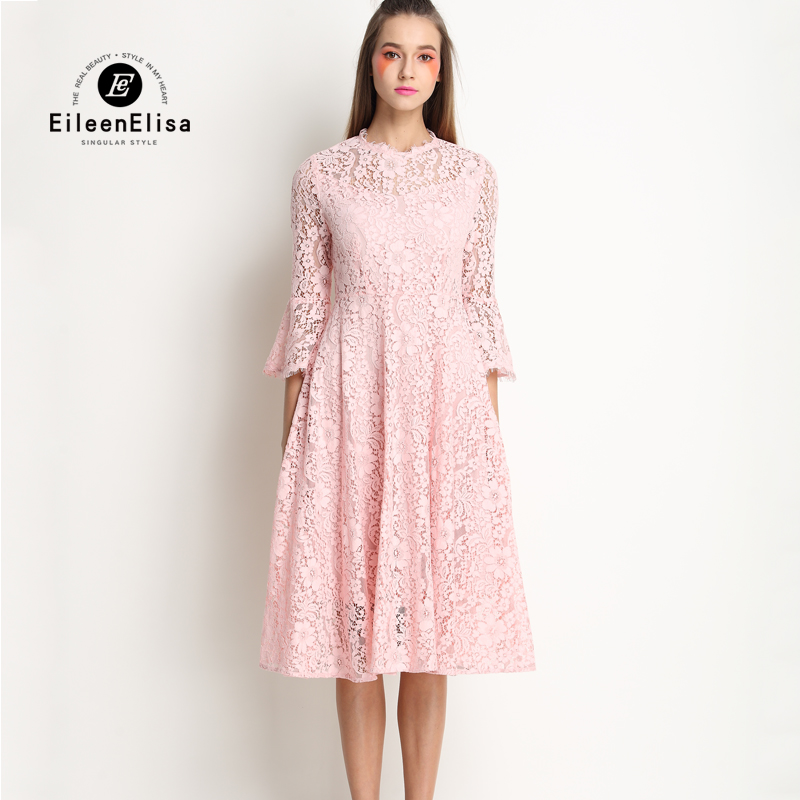 Cute Summer Dress 2017 Women Pink Lace Dress Long Sleeve New Arrive Spring Lace Dress new arrive women