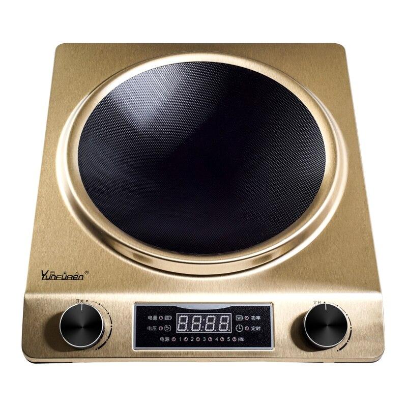 Индукционная Плита бытовой умный высокое Мощность Hot Pot Батарея печь вогнутой Тип обжаренная светодиодный Дисплей Водонепроницаемый