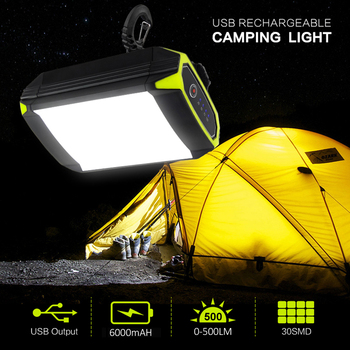 Camping Lantern Portable Power Bank Mobile Charger Fishing Camping Emergency LED Light 30 LED 6000mAh USB Rechargeable Lamp