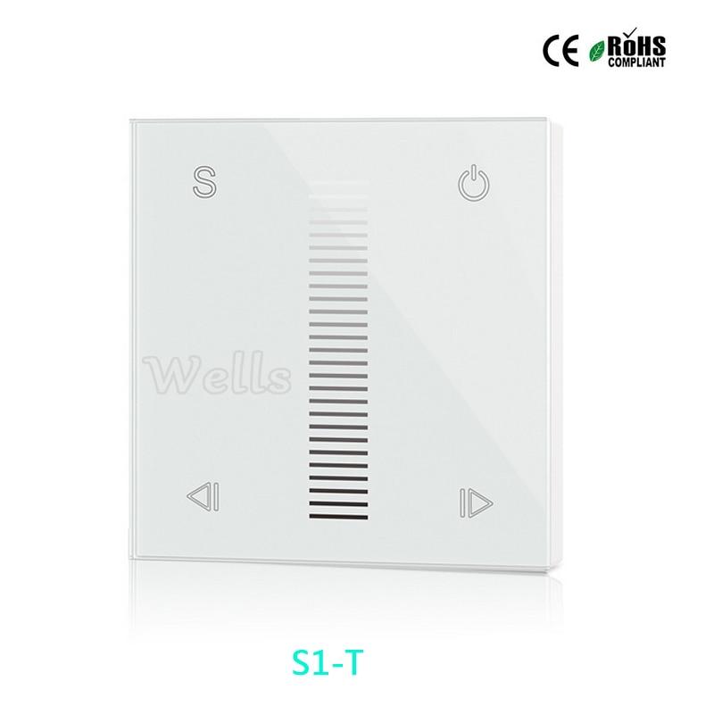 Parede frete grátis Montada Painel de Toque AC100V-240V S1-T Alta Tensão de Entrada 100 W-288 W AC Triac 2.4G RF Dimmer Controlador