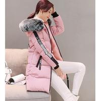 Autumn Winter New Women S Large Fur Collar Down Cotton Jacket Knee Above Long Section Of