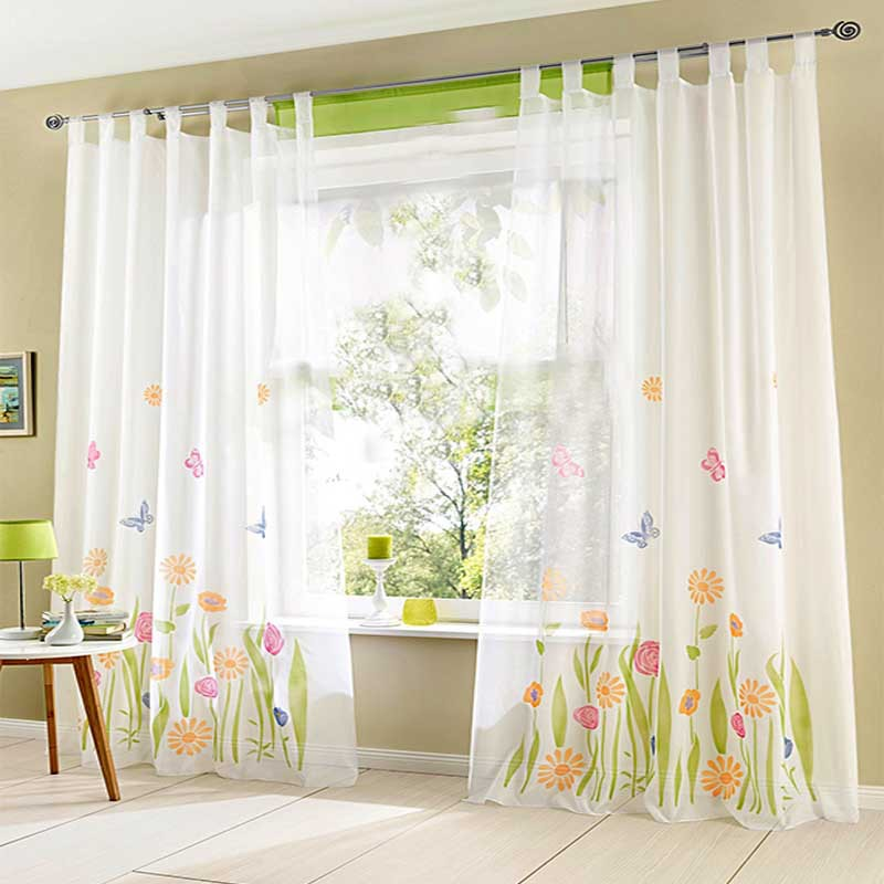 1pc quality butterfly flower sheer curtains for living for Cortinas cortas