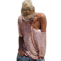 HOT New 2016 Fashion Women Sexy Loose Off Shoulder Sequin Glitter Blouses Summer Casual Shirts Vintage