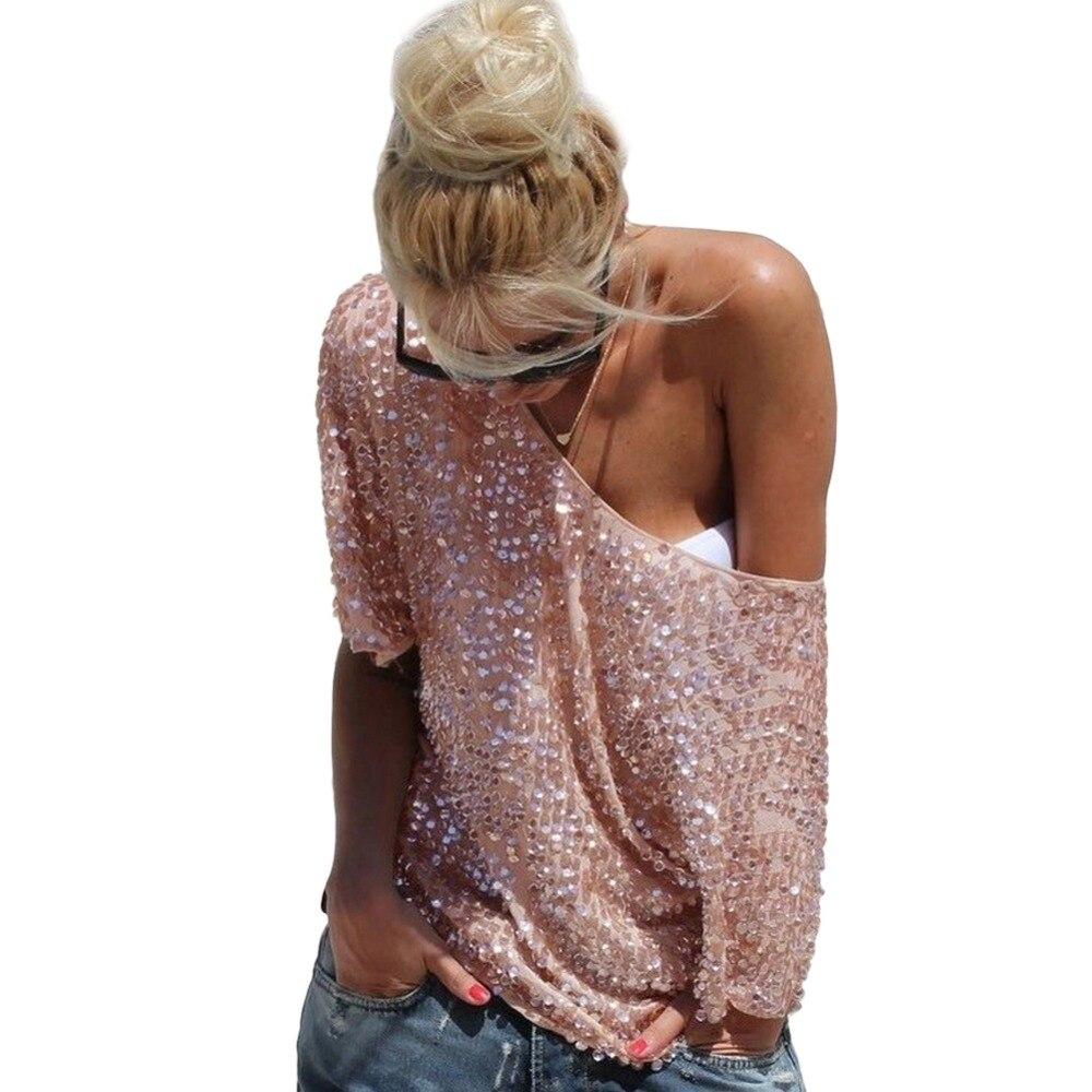HOT New 2017 Donne di Modo Sexy Allentato Spalle Paillettes Glitter Camicette di Estate Camicie Casual Vintage Streetwear Tops Partito