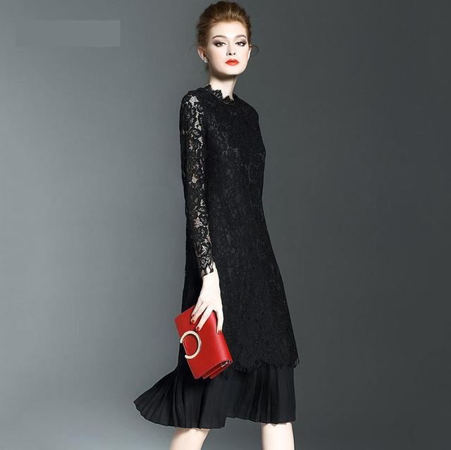 154fdcd77fa61 Spring Autumn New Style Women's Long Sleeve Lace O neck Dress Fashion Brand  Temperament Show Thin Female Clothing Size S XL-in Dresses from Women's ...