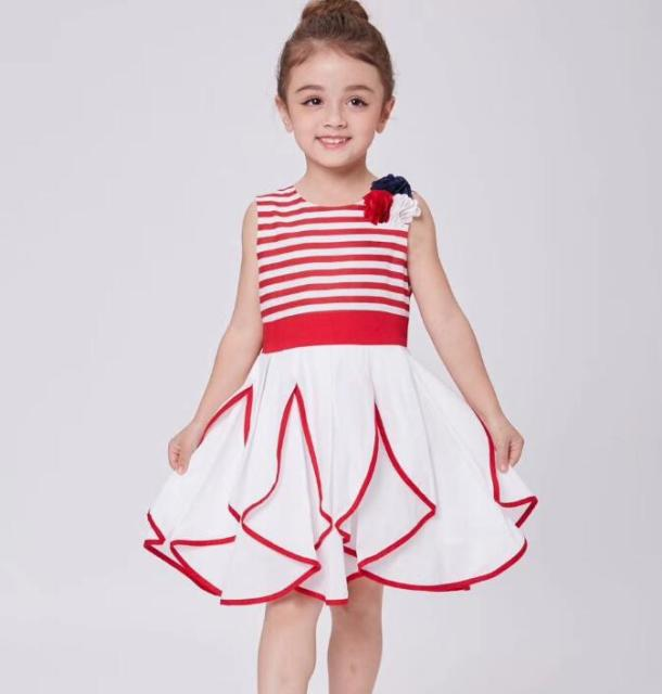 Summer Dress S 2018 New Baby Party Striped Flower Princes Holiday Dresses Fashion Children