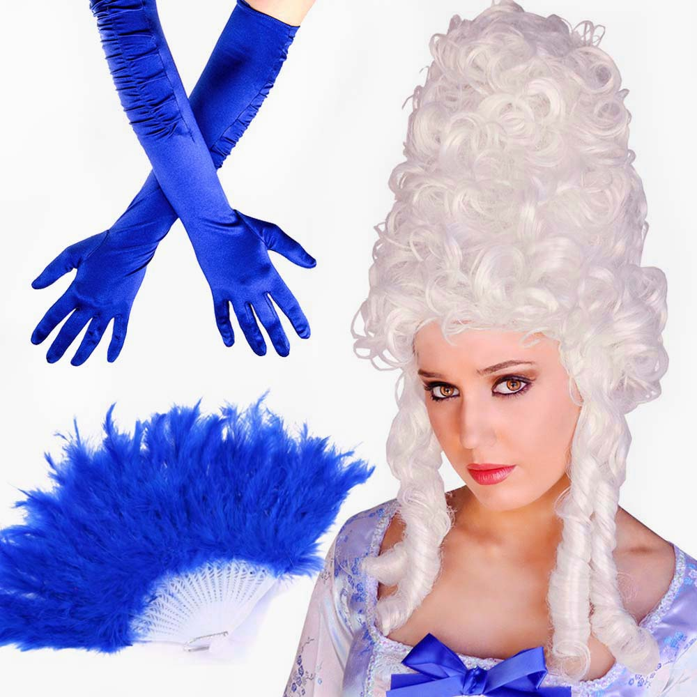 Marie Antoinette Costume Accessories Adult Masquerade Ball Halloween Fancy Dress French Queen Beehive Wig Feather Fan Gloves