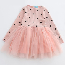 Baby Girls Dress 2017 Autumn Children Princess Dresses For Cute Girl Long Sleeve Lacing Bow Ball Gown Dot Printing Kids Clothing
