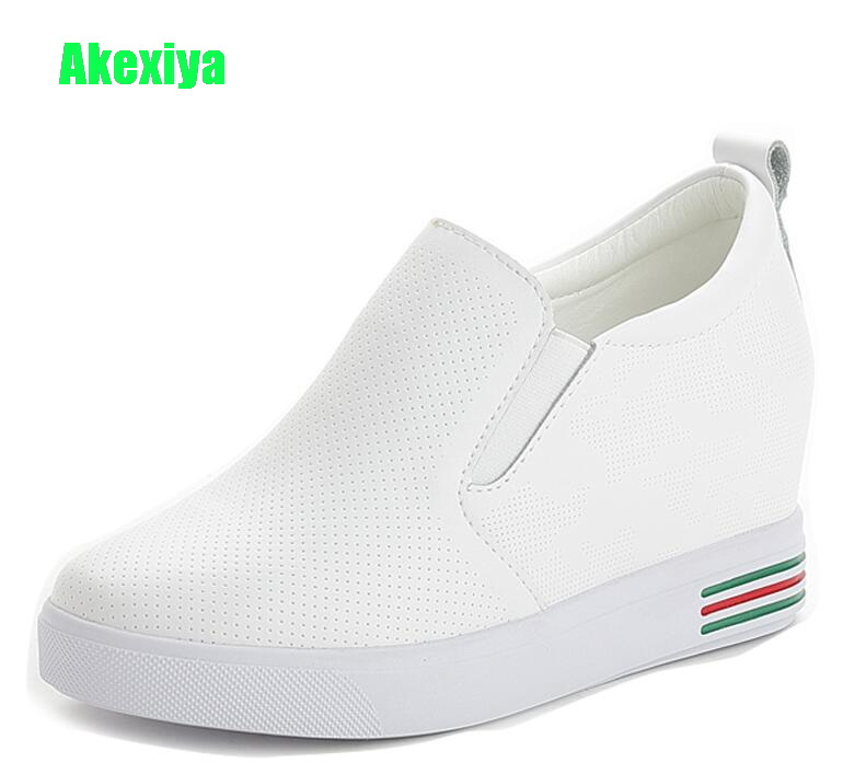 Akexiya Women Nice Summer Breathable Leather Hidden Heels Female Platform Wedges Sneakers Fashion Height Increasing Shoes Woman new fashion women height increasing summer breathable waterproof wedges sneakers platform shoes woman pu leather casual shoe