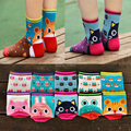 Venta caliente Nuevo estilo Divertido de la historieta calcetines mujeres soft calcetines animales de dibujos animados 3D lindo calcetines de algodón transpirable de alta superior