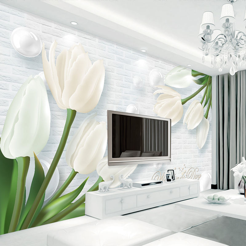 Custom Photo Wallpaper Modern 3D Stereoscopic Relief White Pearl Tulip Living Room  TV Background Brick Wall Painting Home Decor