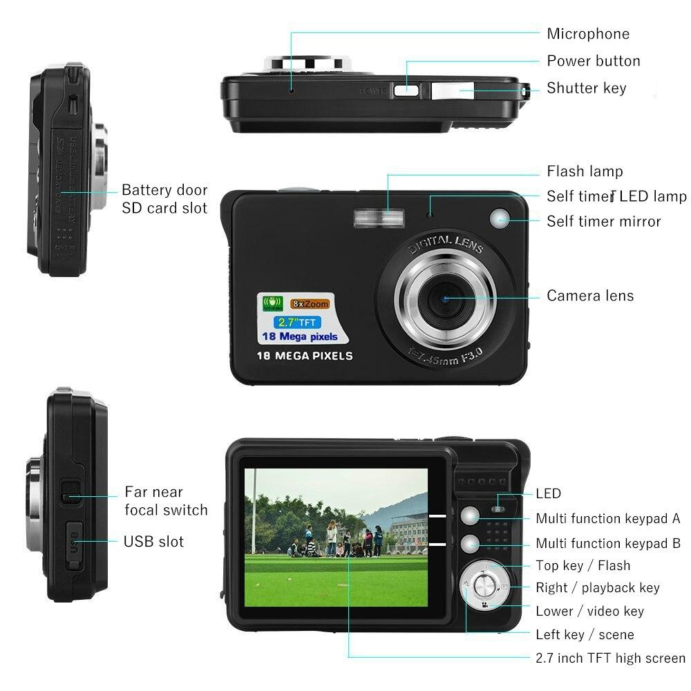 "HTB1fboWX.vrK1RjSspcq6zzSXXan Children Portable Mini Camera 2.7"" 720P 18MP 8x Zoom TFT LCD HD Digital Camera Video Camcorder DV Anti-Shake Photo For Kids Gift"