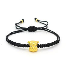 New Women Men Bracelet Zircon Dog Braided Macrame Handmade Weaving Lucky Black rope Red String Charm Jewelry Pulseira