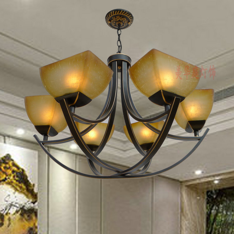 European shipping led retro iron chandelier ceiling living room bedroom is garden villa duplex D6-014 Chandelier lamps european and american living room chandelier iron simple atmosphere of modern garden bedroom ceiling decorated with medite