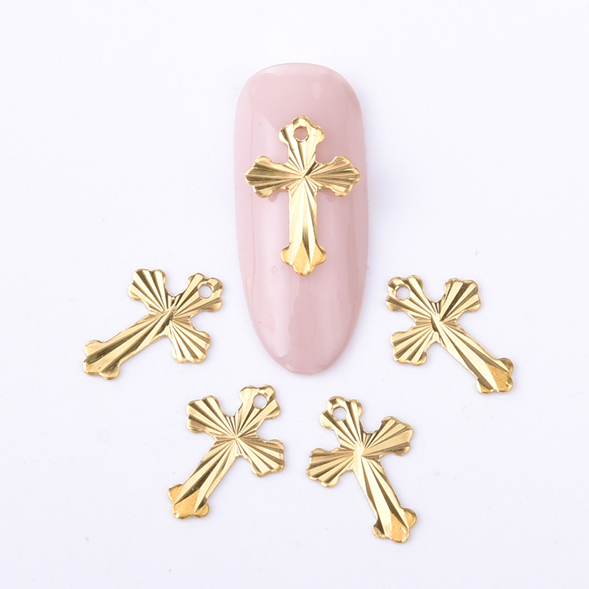 10pcs crushed cross design gold leaf flat 3d nail art for 3d nail art decoration