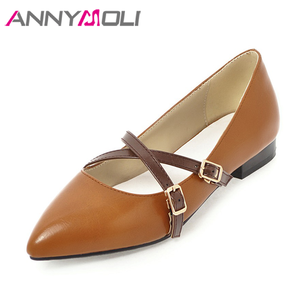 ANNYMOLI Women Shoes 2018 Spring Flats Pointed Toe Casual Flats Shoes Female Buckle Strap Shoes chaussures femme Big Size 42 43 spring autumn solid metal decoration flats shoes fashion women flock pointed toe buckle strap ballet flats size 35 40 k257